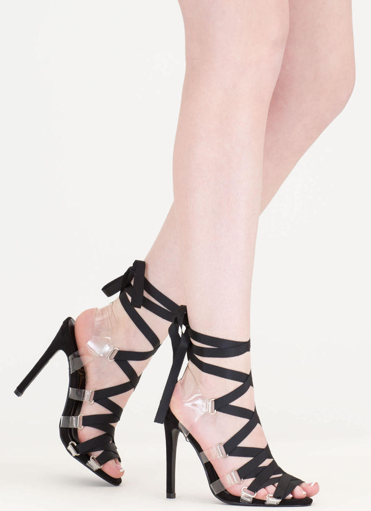 Ribbon Dance Clear Lace-Up Heels BLUSH BLACK GREY - GoJane.com