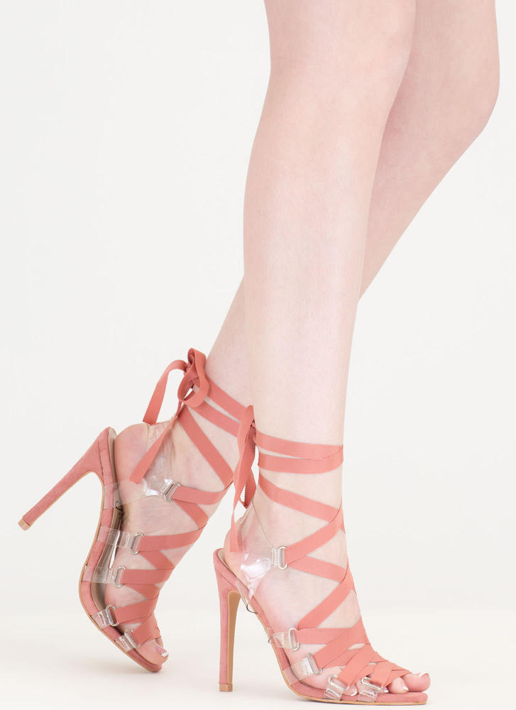 Ribbon Dance Clear Lace-Up Heels BLUSH