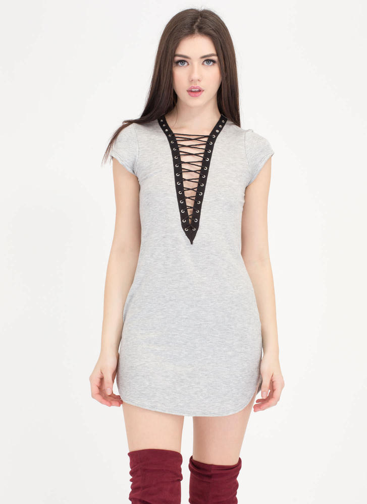 Let's Lace Up Plunging Grommet Dress HGREY