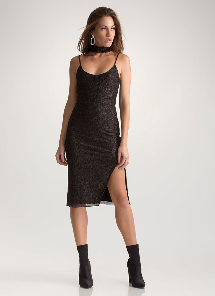 Glow-Getter Metallic Slip Dress BLACK