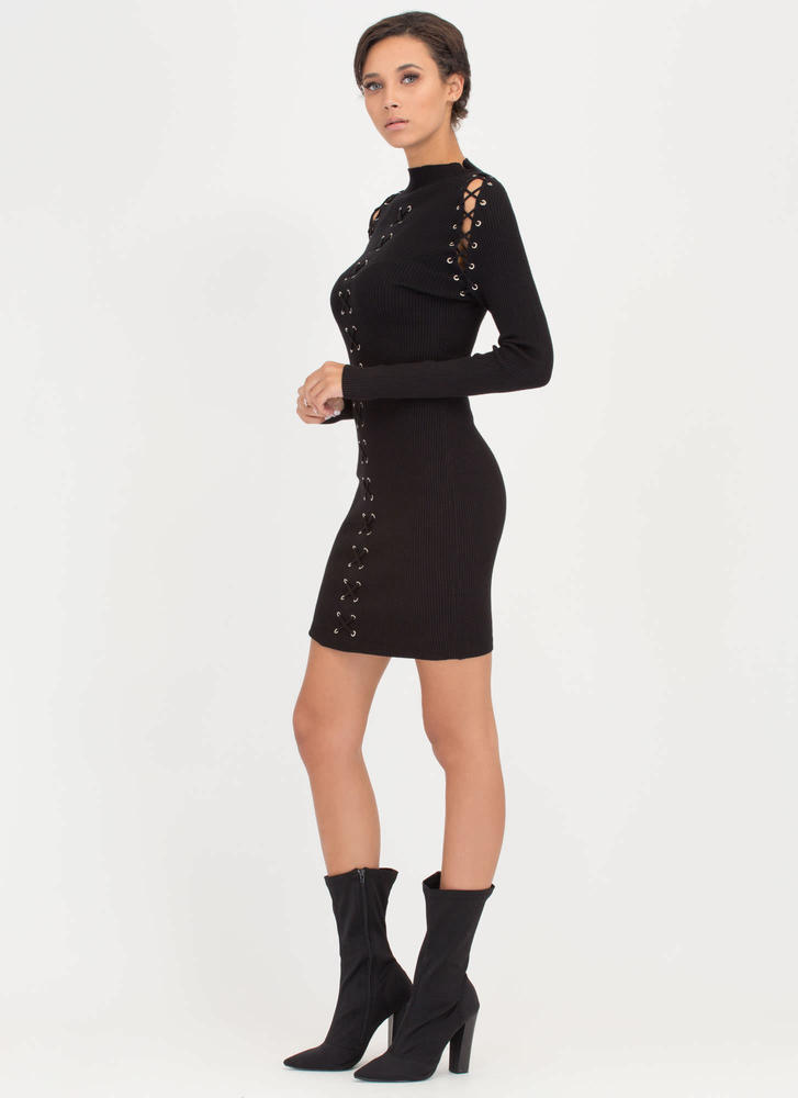 High Roller Lace-Up Ribbed Minidress BLACK