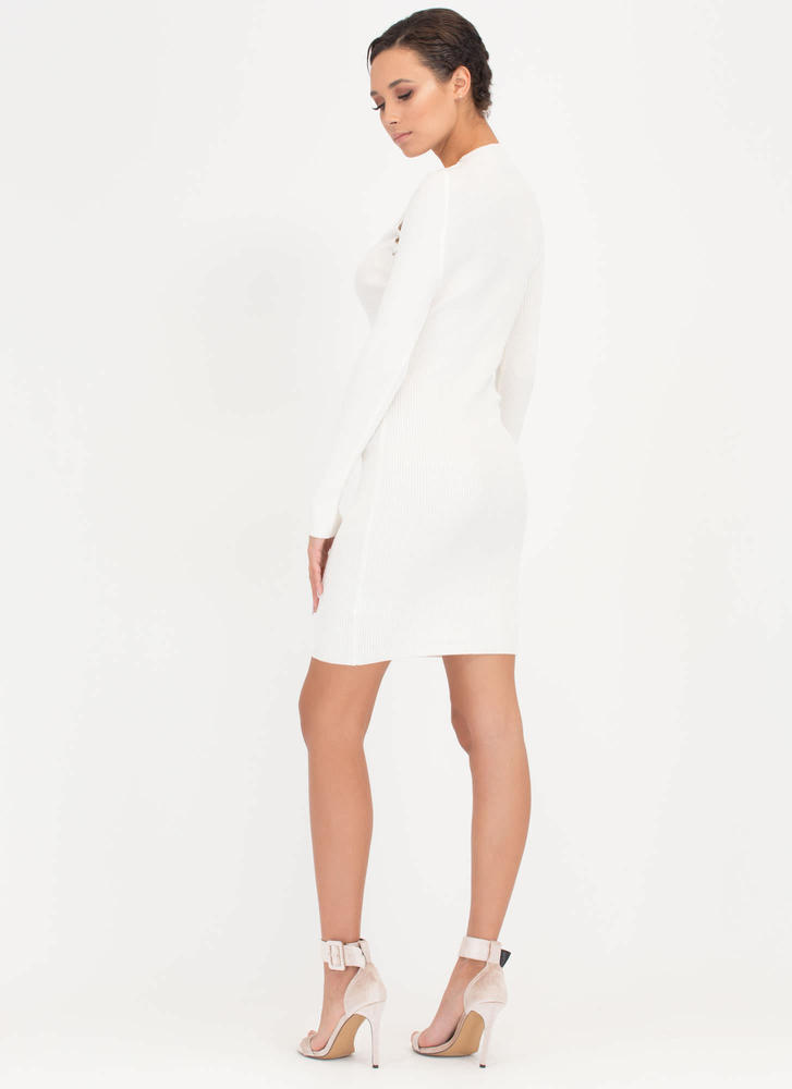 High Roller Lace-Up Ribbed Minidress WHITE