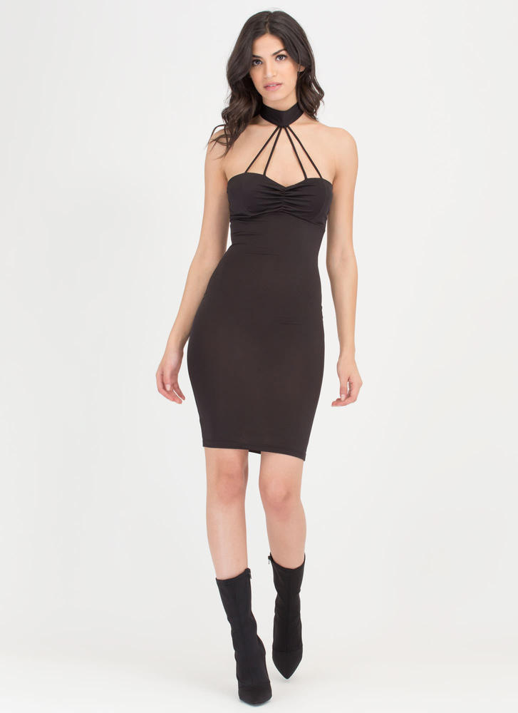 Cage Turner Ruched Choker Bodycon Dress