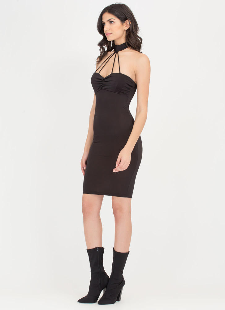 Cage Turner Ruched Choker Bodycon Dress BLACK