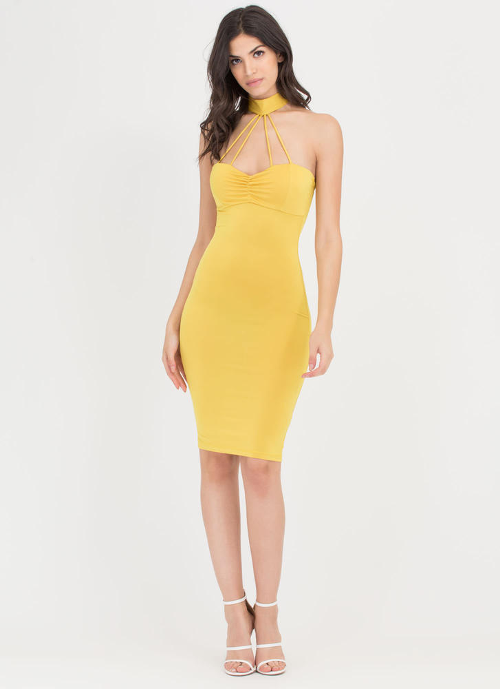 Cage Turner Ruched Choker Bodycon Dress MUSTARD
