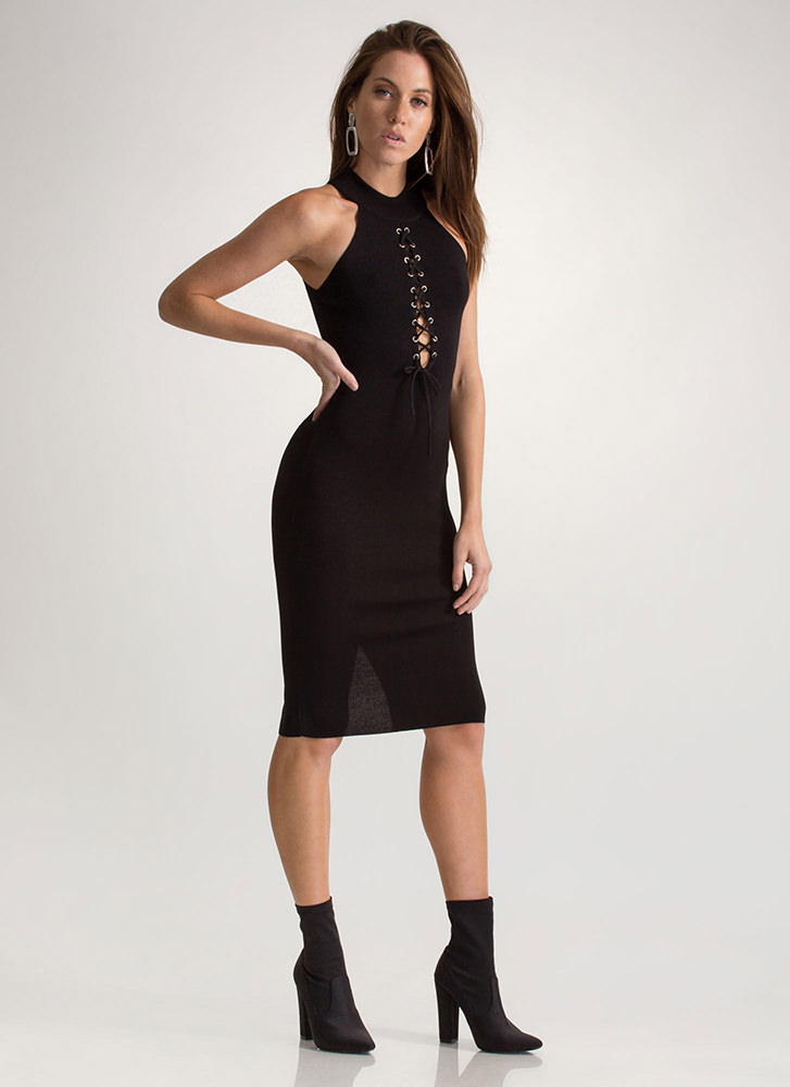 Just A Hint Lace-Up Bodycon Dress BLACK