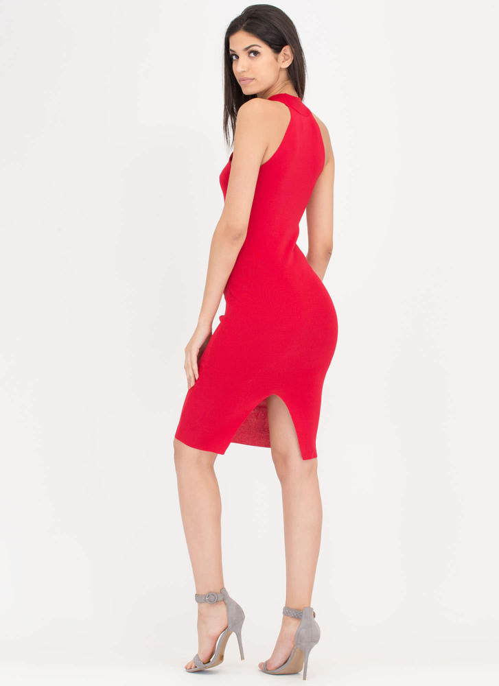 Just A Hint Lace-Up Bodycon Dress RED
