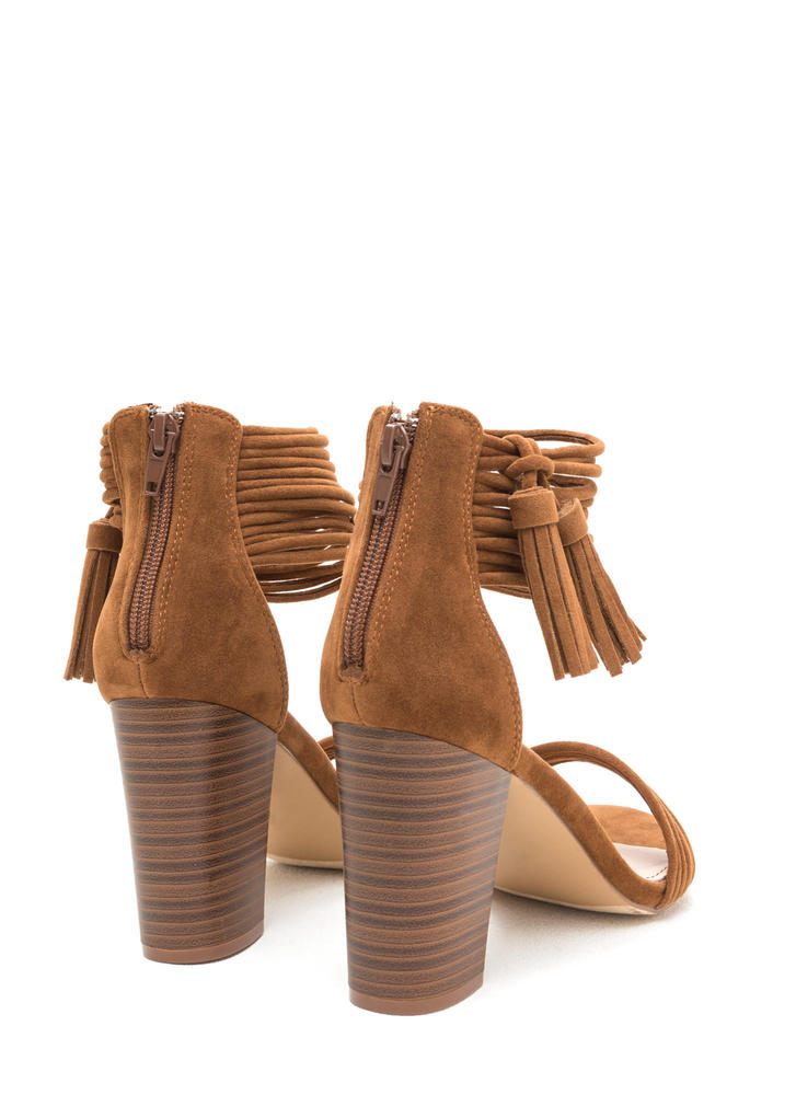 Stacked Strappy Tasseled Chunky Heels TAN