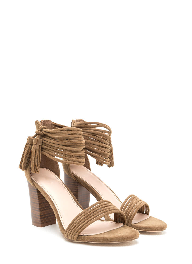Stacked Strappy Tasseled Chunky Heels TAUPE