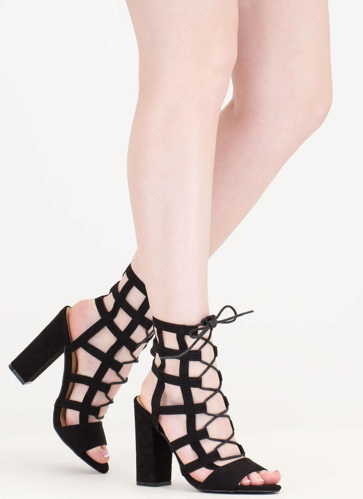 Grid Luck Chunky Caged Lace-Up Heels