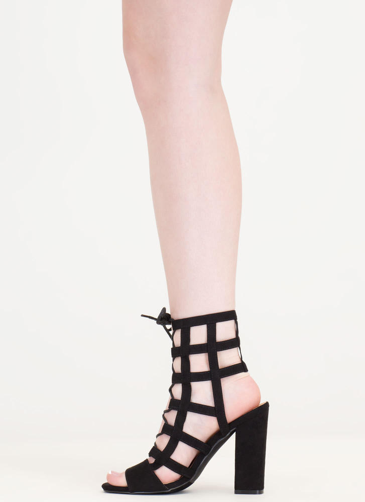 Grid Luck Chunky Caged Lace-Up Heels BLACK