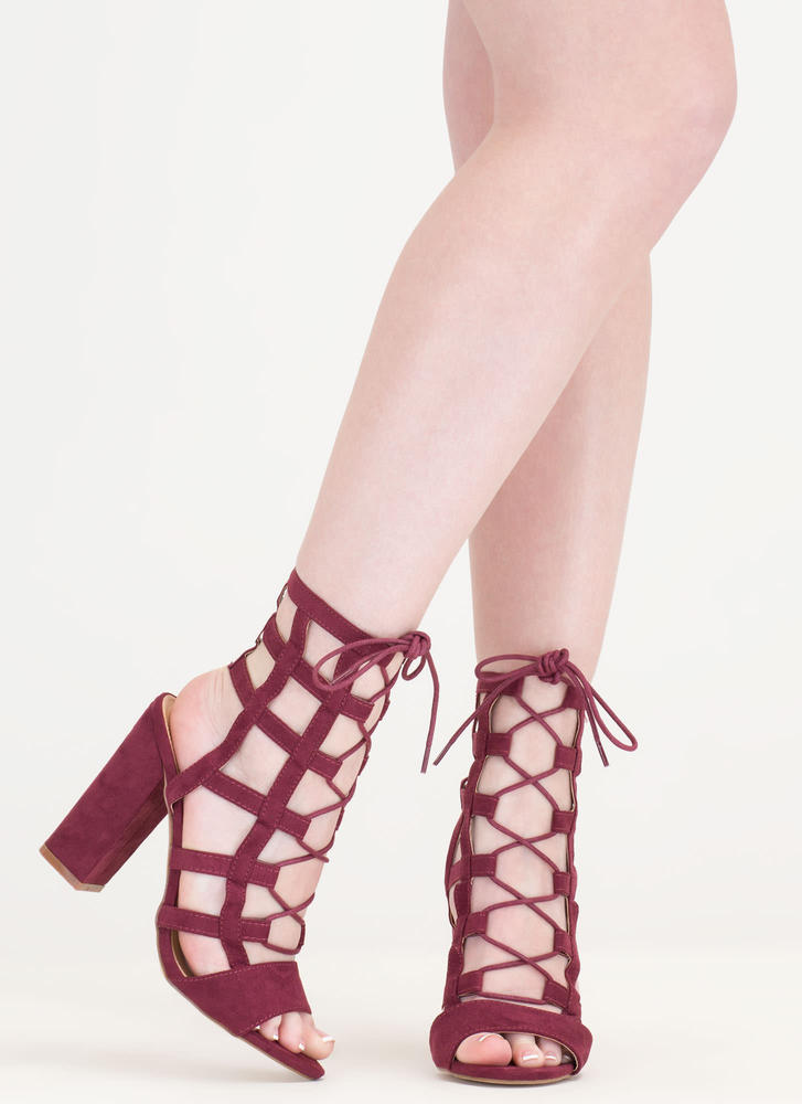 Grid Luck Chunky Caged Lace-Up Heels WINE