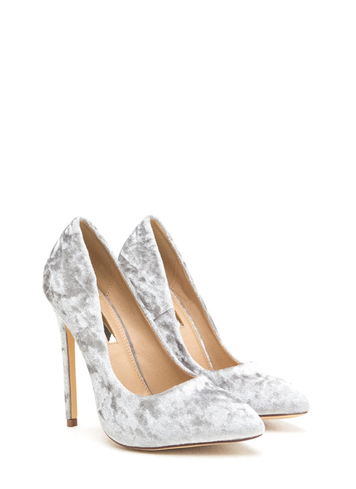 Crushed Competition Velvet Pointy Pumps GREY
