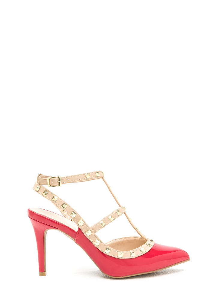 Rocker Edge Faux Patent Studded Heels RED