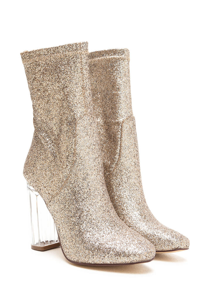 I Sparkle Chunky Lucite Glitter Booties GOLD
