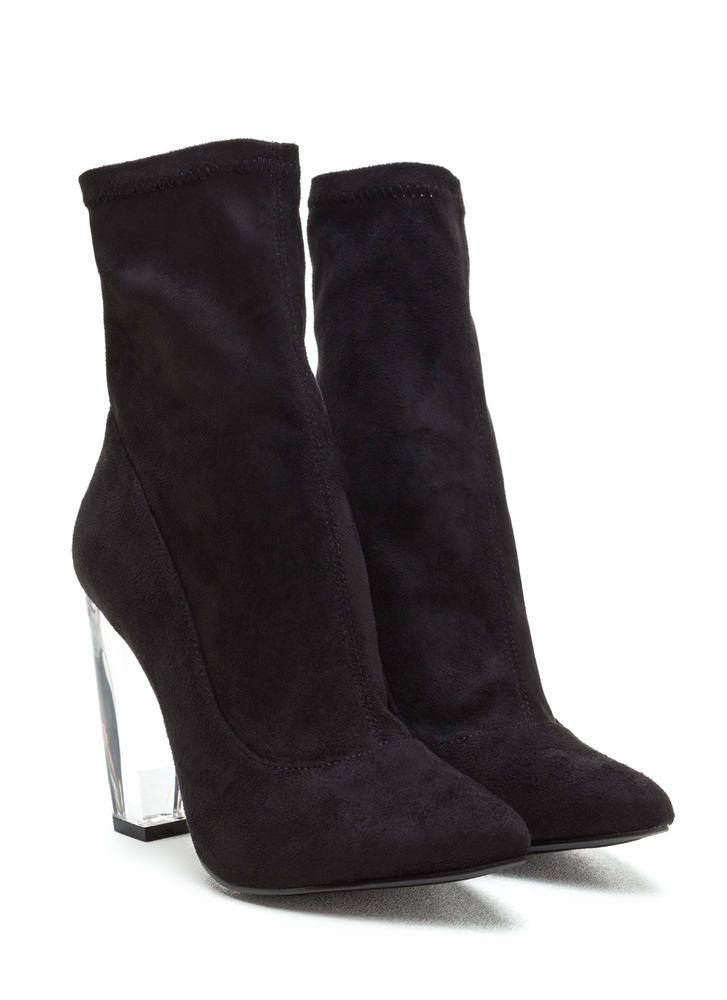 Great Point Chunky Lucite Booties BLACK