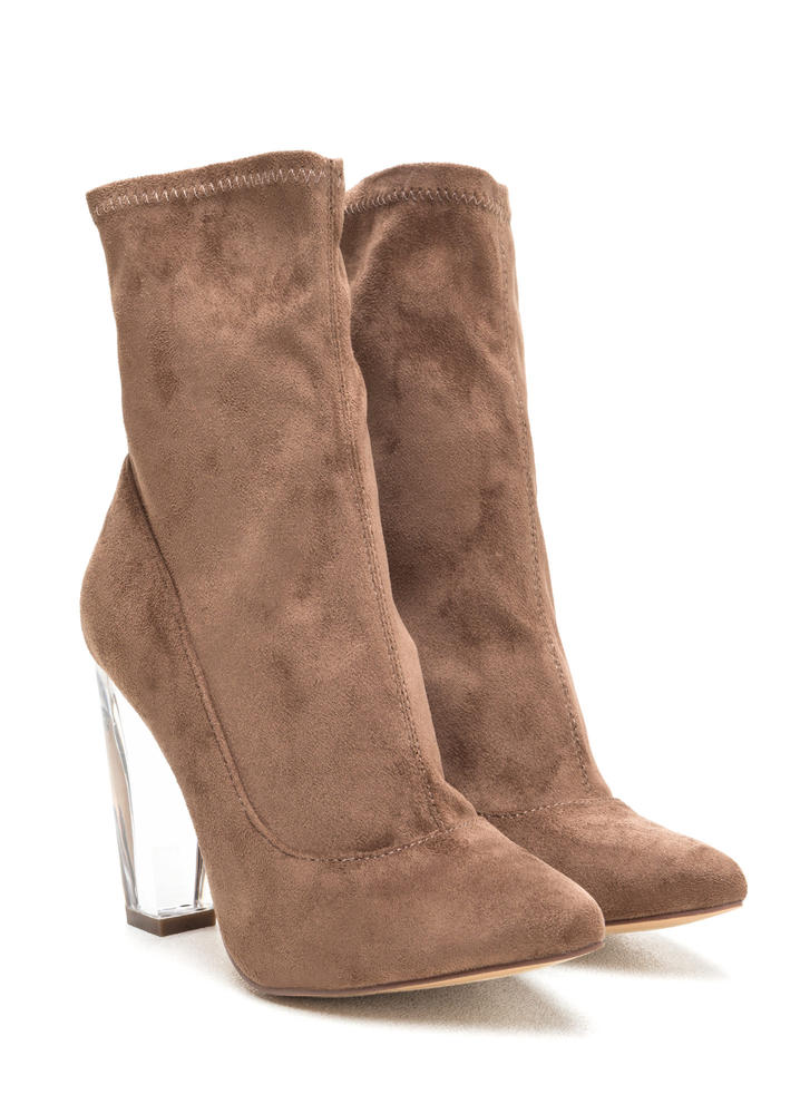 Great Point Chunky Lucite Booties TAUPE (Final Sale)