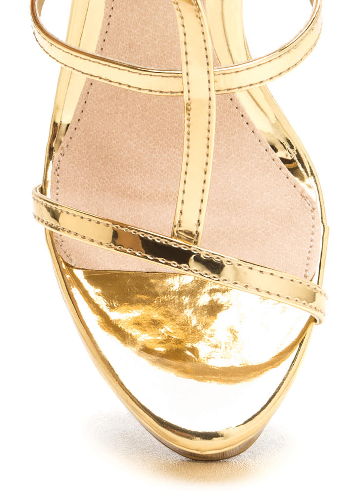 Feeling Centered Shiny Caged Wedges GOLD