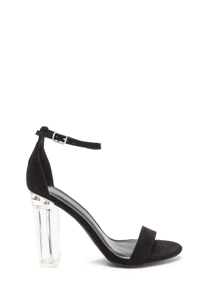 You're In The Clear Chunky Lucite Heels BLACK