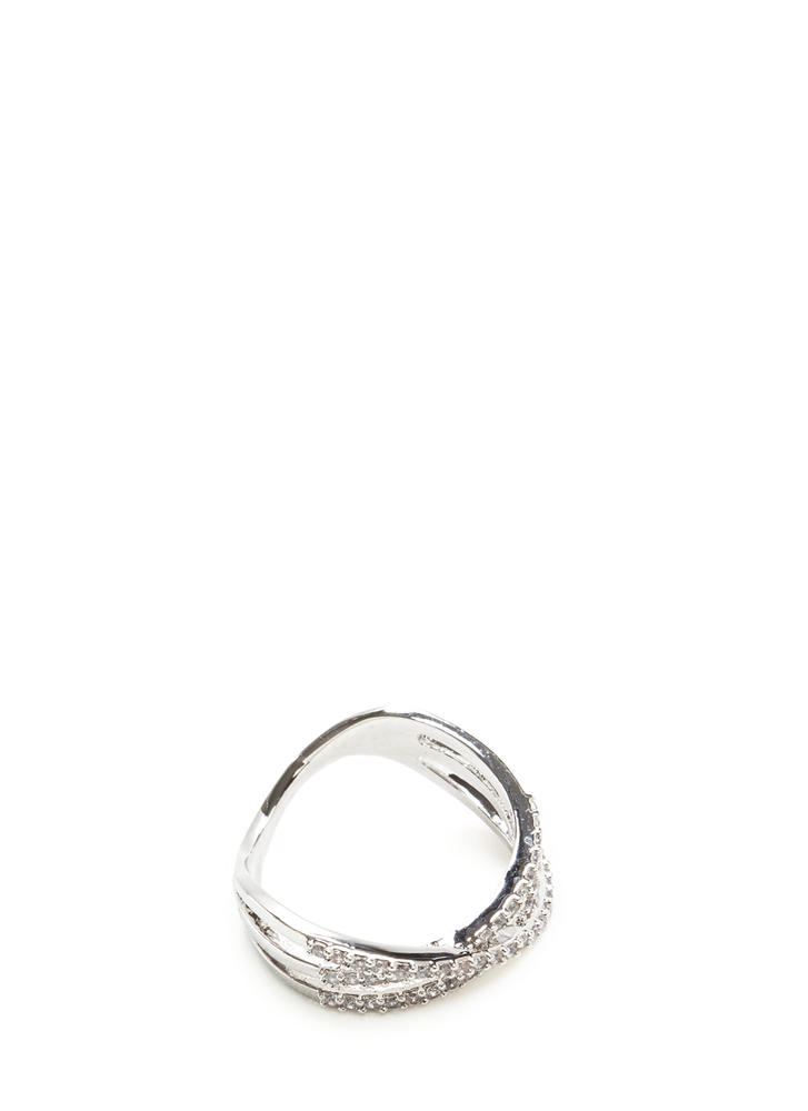 Three's Company Rhinestone Ring SILVER (Final Sale)