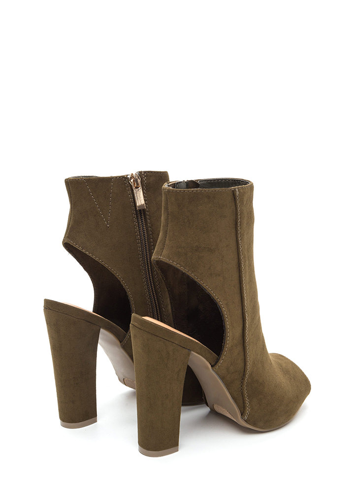 You're Cut Faux Suede Chunky Heels OLIVE