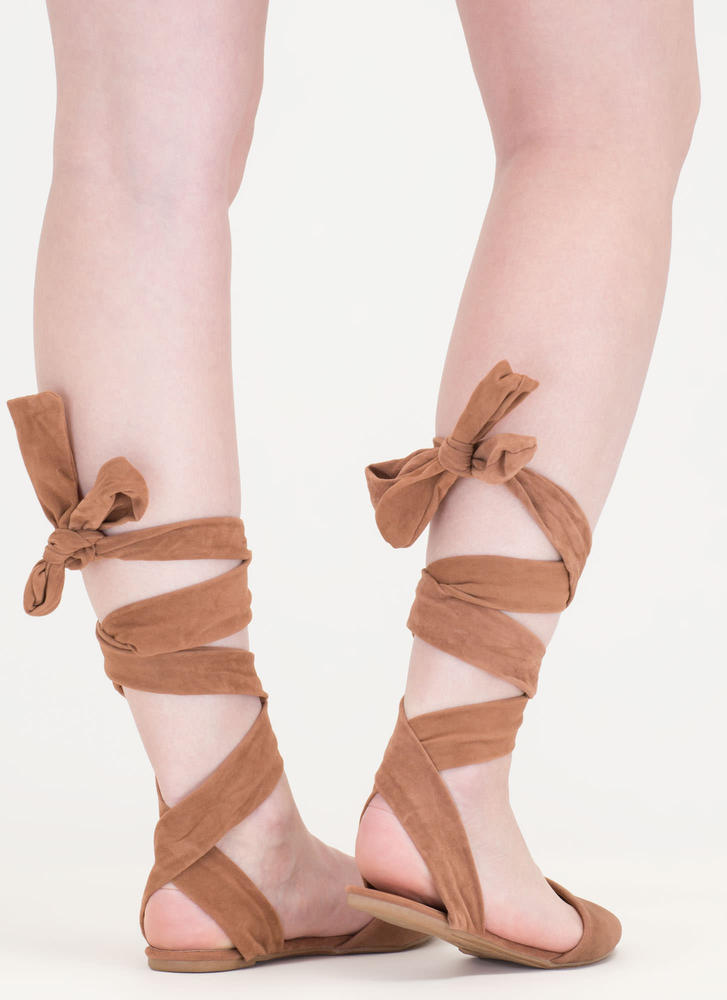 Stage Prep Pointy Lace-Up Flats CAMEL
