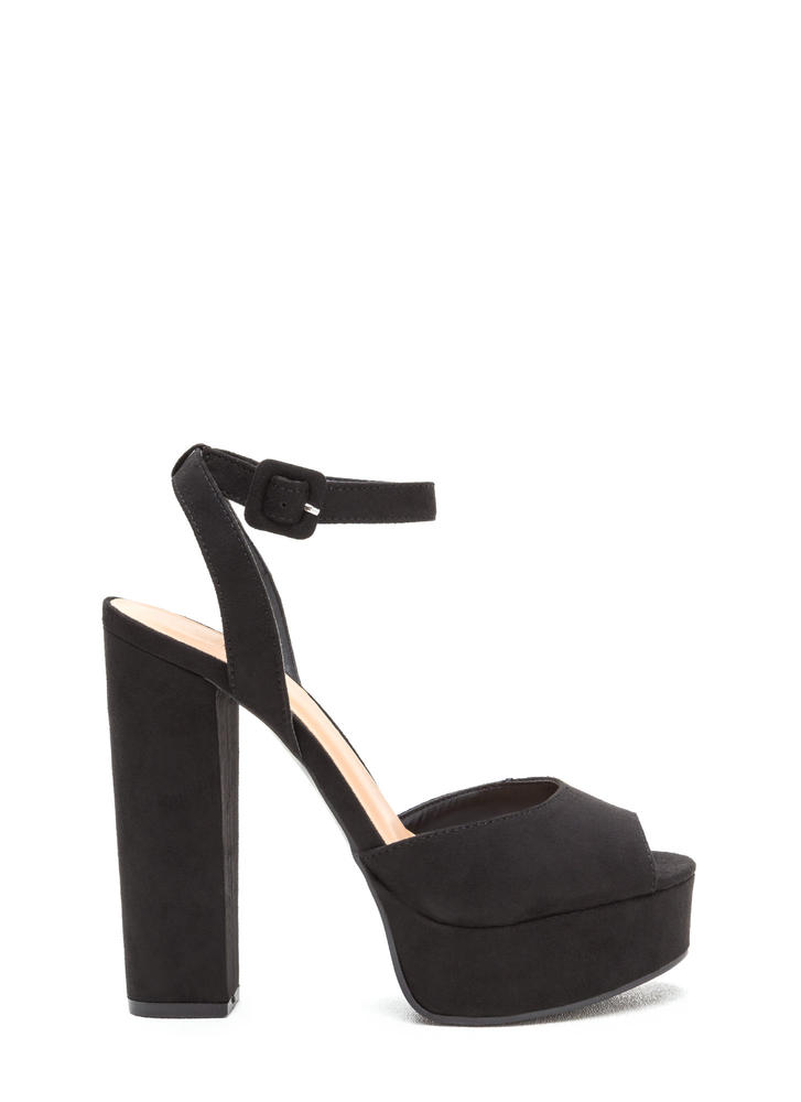 Wrap Up Faux Suede Chunky Platform Heels