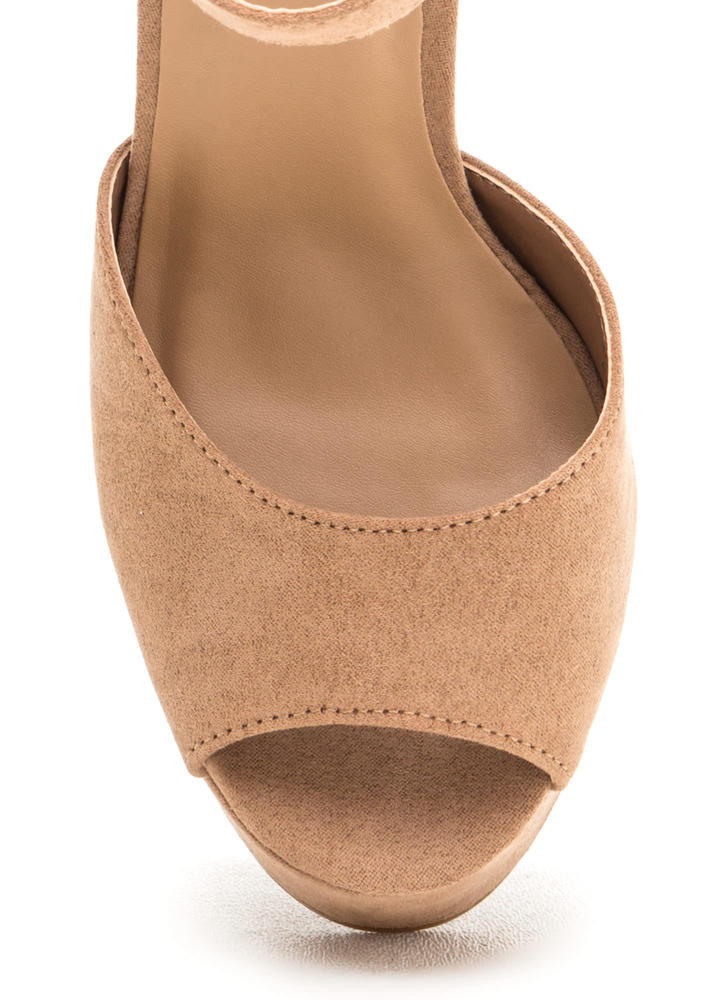 Wrap Up Faux Suede Chunky Platform Heels CAMEL