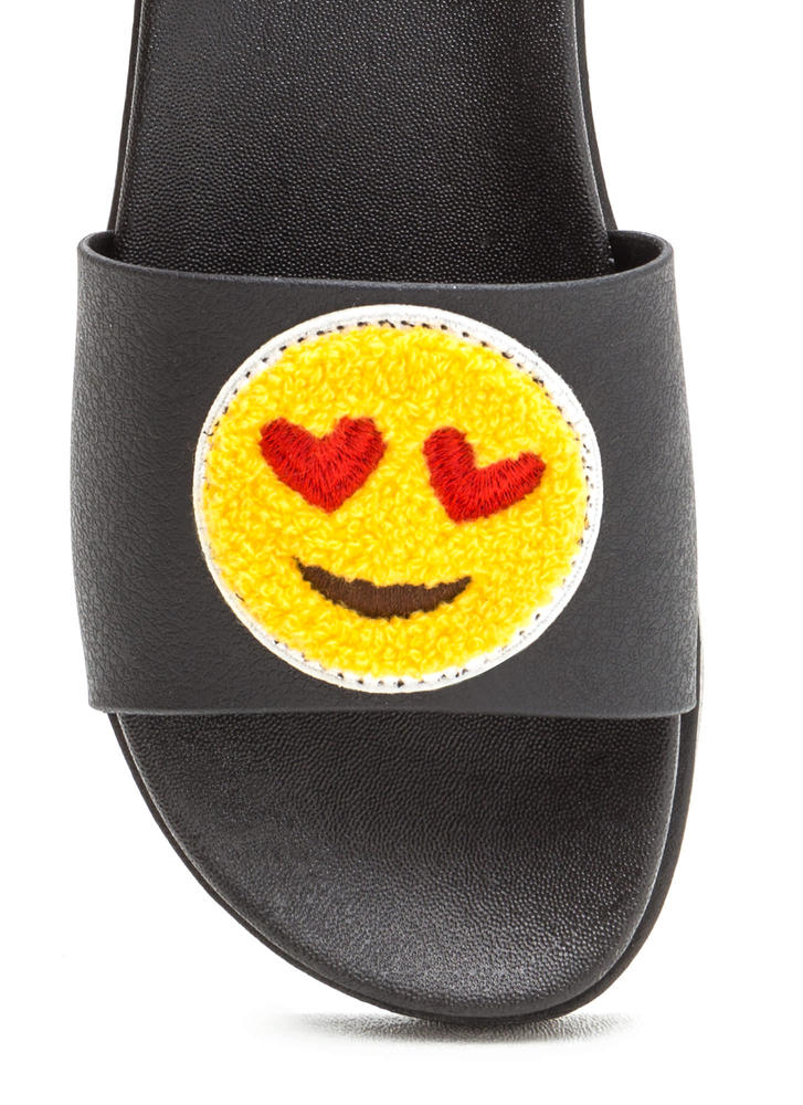 Love At First Sight Emoji Slide Sandals BLACK