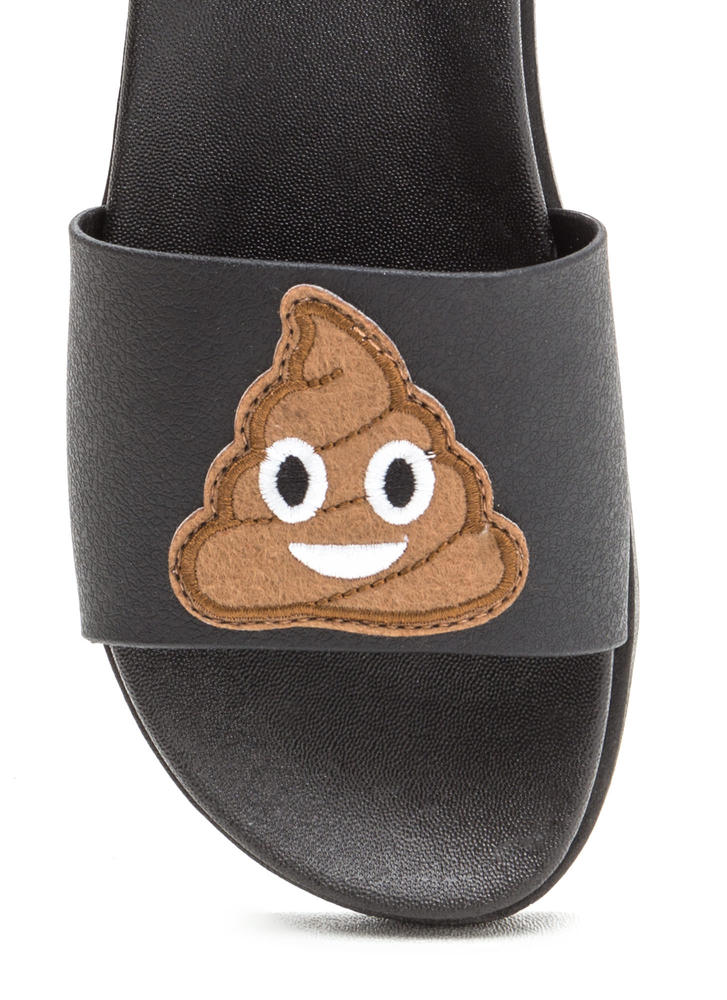 So Pooped Emoji Slide Sandals BLACK