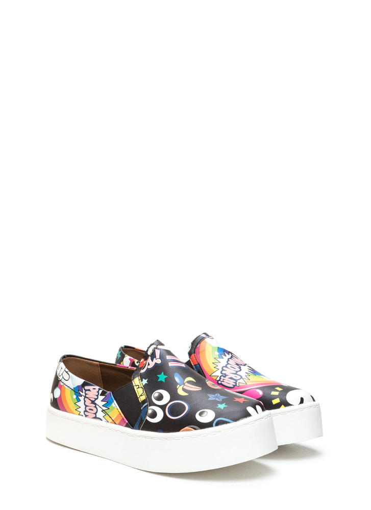 Cartoon Lover Printed Platform Sneakers BLACK