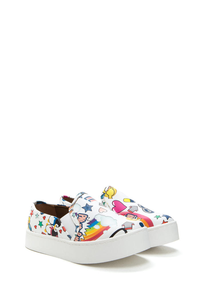 Cartoon Lover Printed Platform Sneakers WHITE