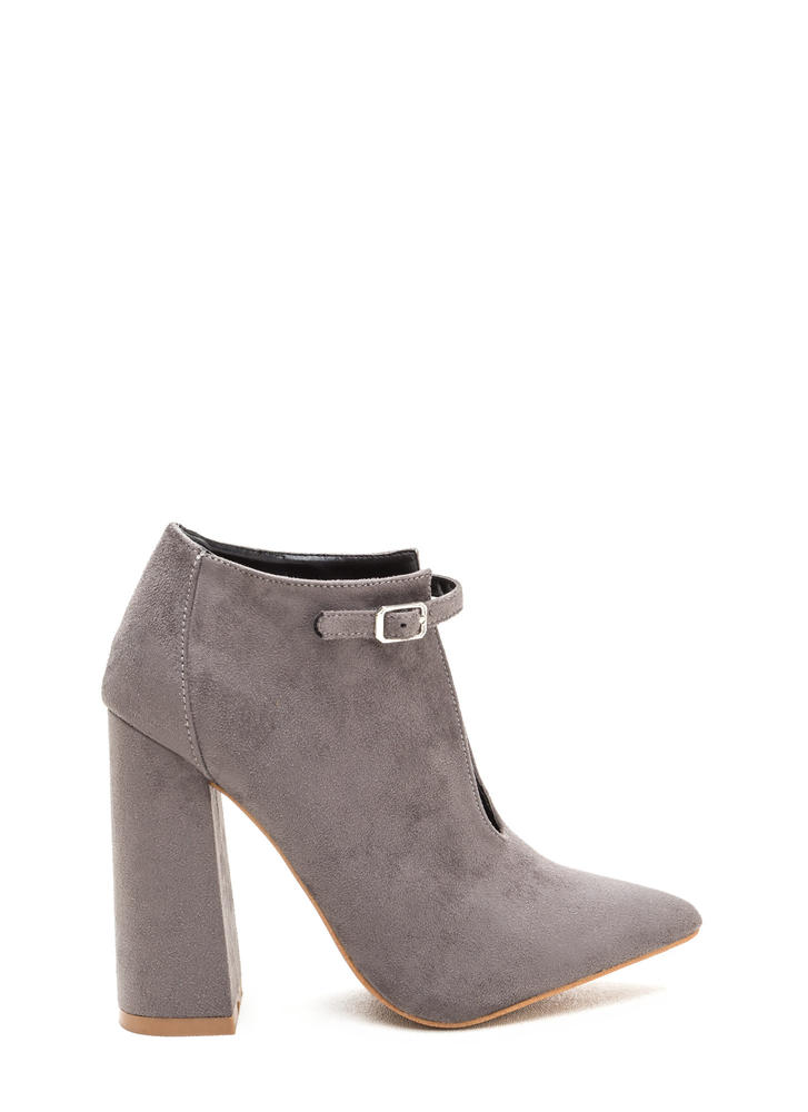 Let's Split It Ankle Strap Chunky Heels GREY