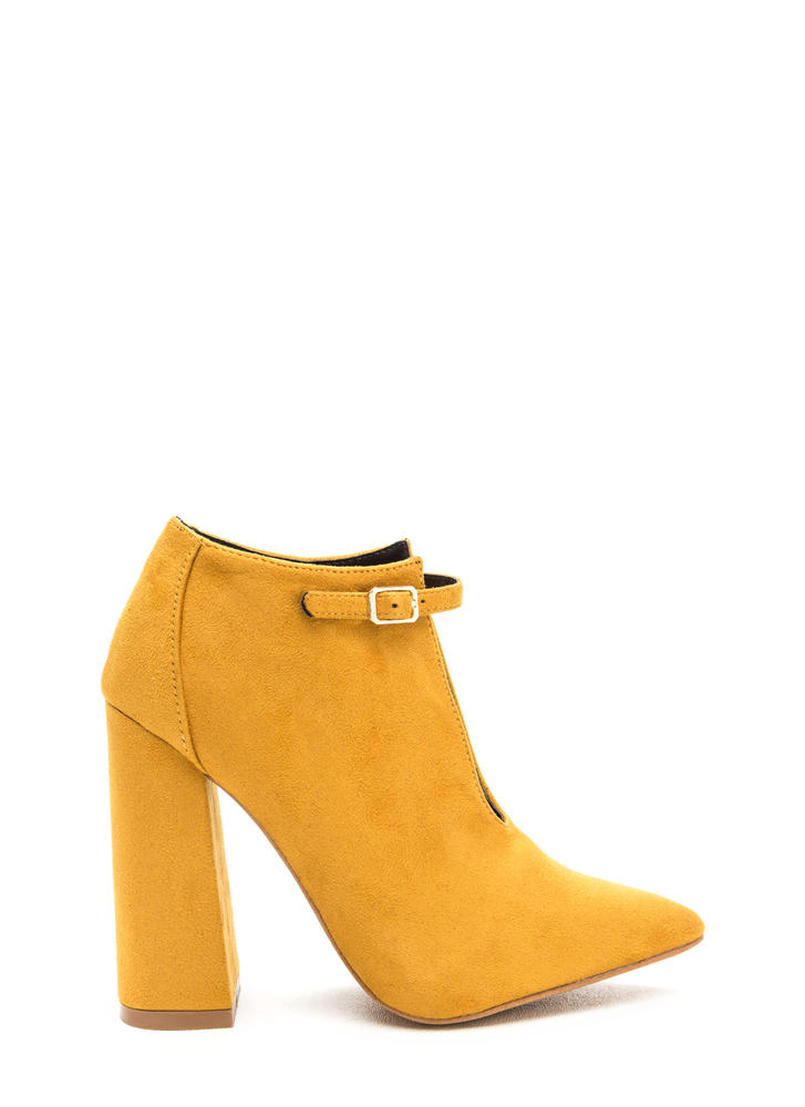 Let's Split It Ankle Strap Chunky Heels MUSTARD