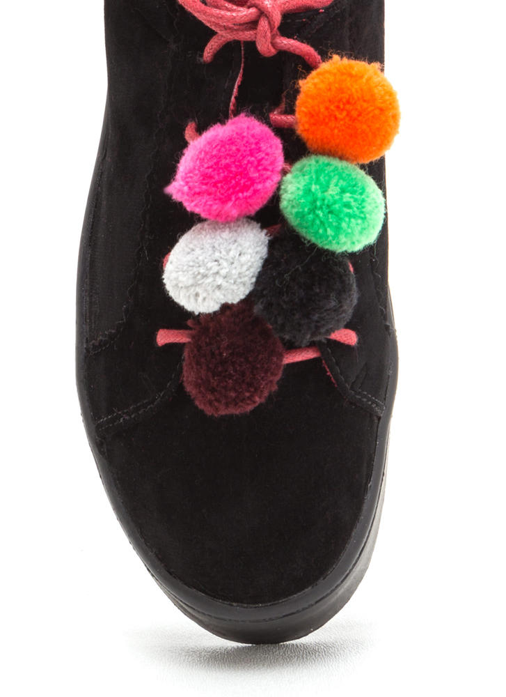 Pom-Pom Parade Lace-Up Sneakers BLACK