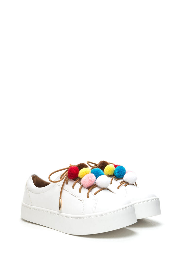 Pom-Pom Parade Lace-Up Sneakers WHITE
