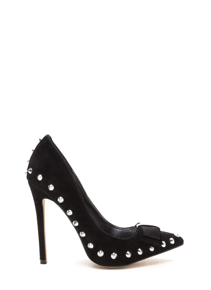 Bow My Goodness Studded Pointy Pumps BLACK