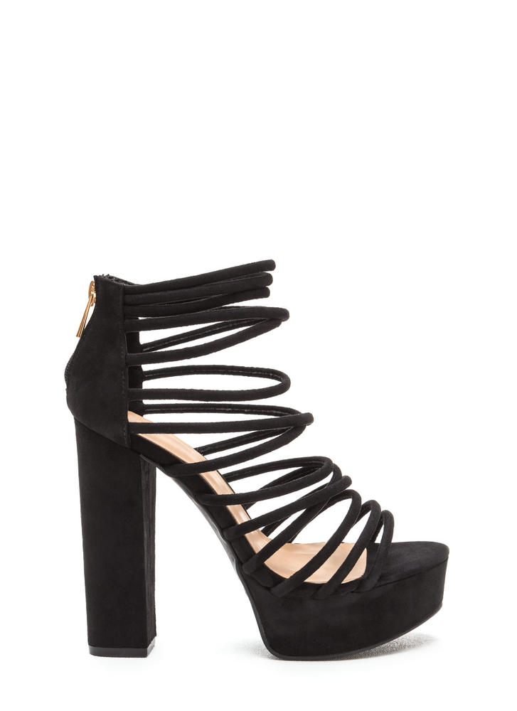 Flawless Finish Chunky Caged Heels BLACK (Final Sale)