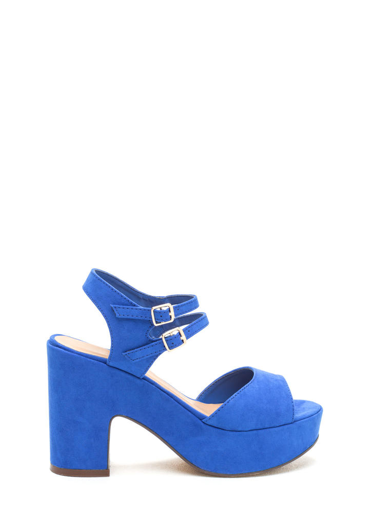 Double Feature Faux Suede Block Heels