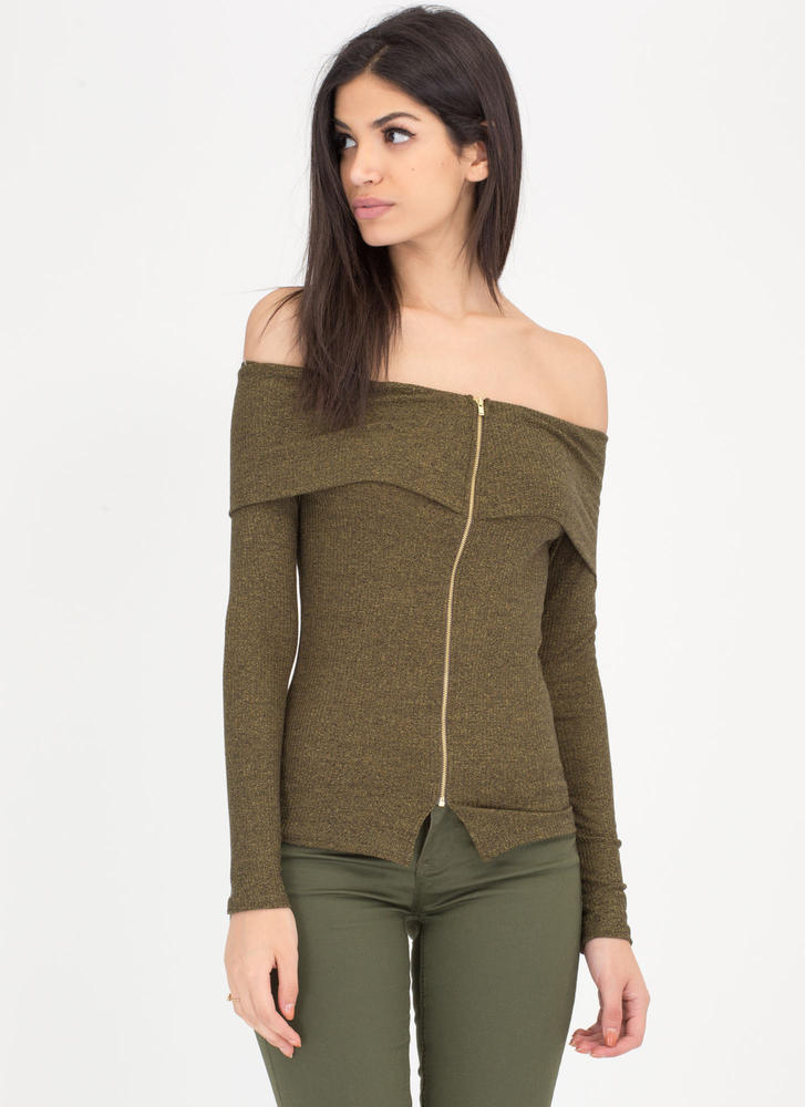 Zip It Up Marled Off-Shoulder Top
