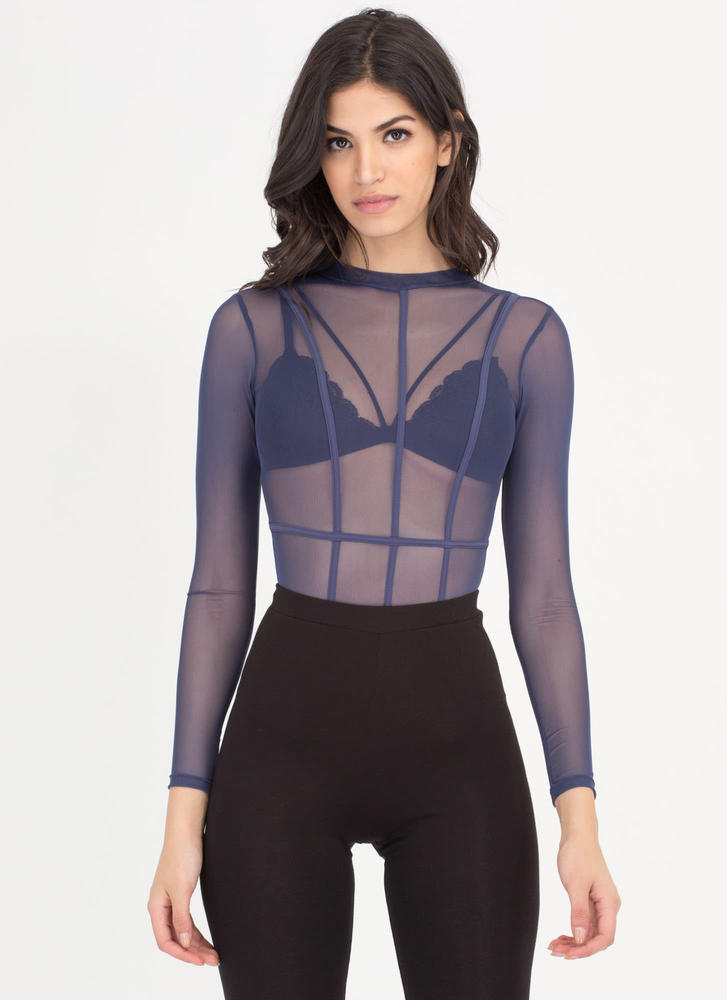 Piped Up Caged Sheer Mesh Bodysuit BLUE