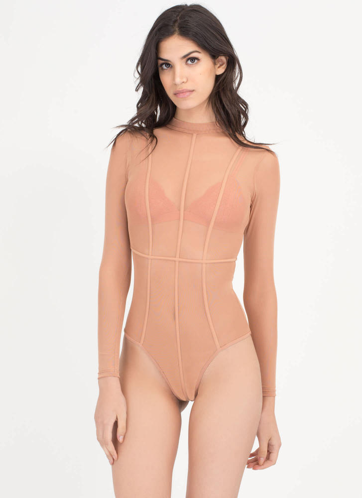 Piped Up Caged Sheer Mesh Bodysuit