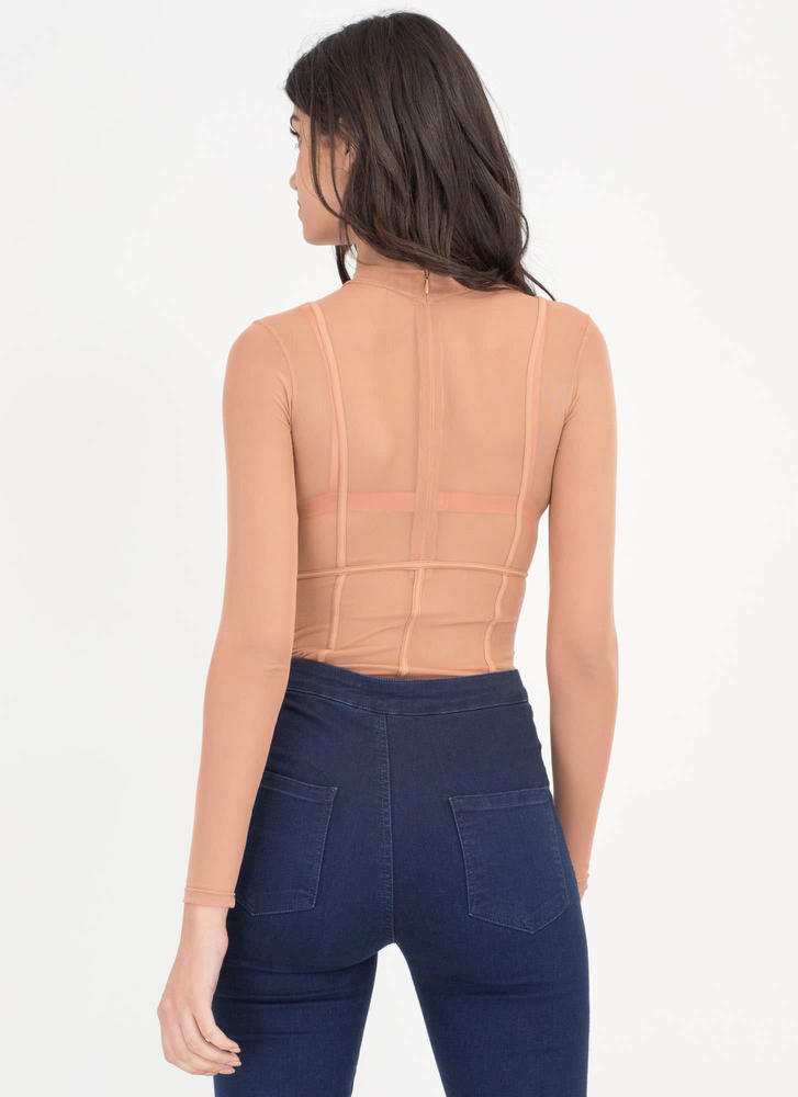Piped Up Caged Sheer Mesh Bodysuit SPICE