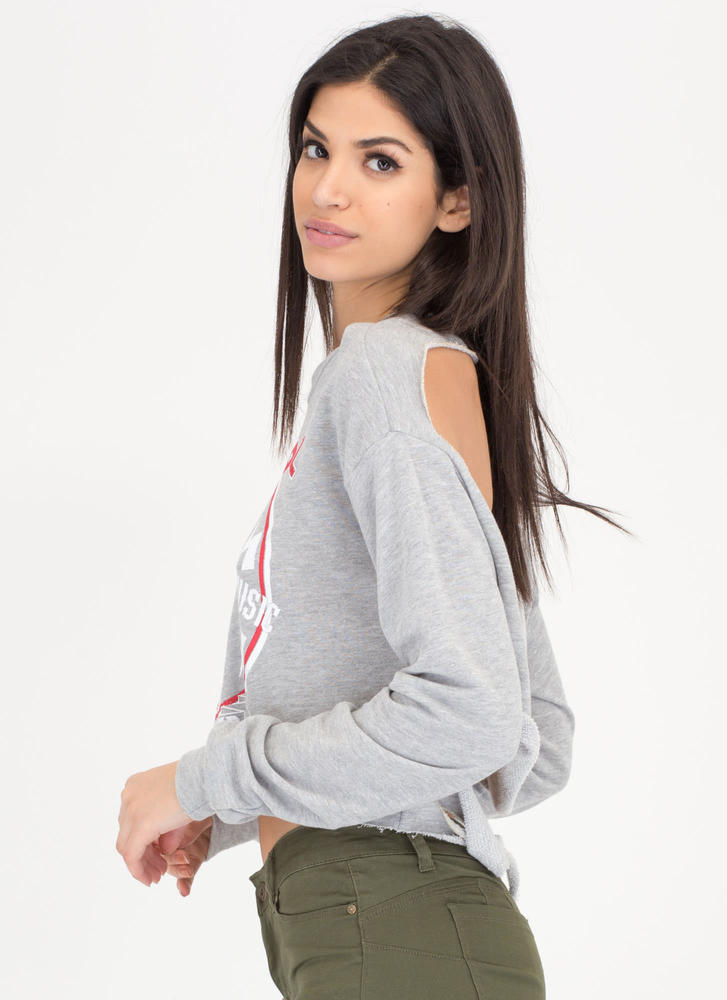 Rock Out Graphic Cut-Out Sweatshirt HGREY