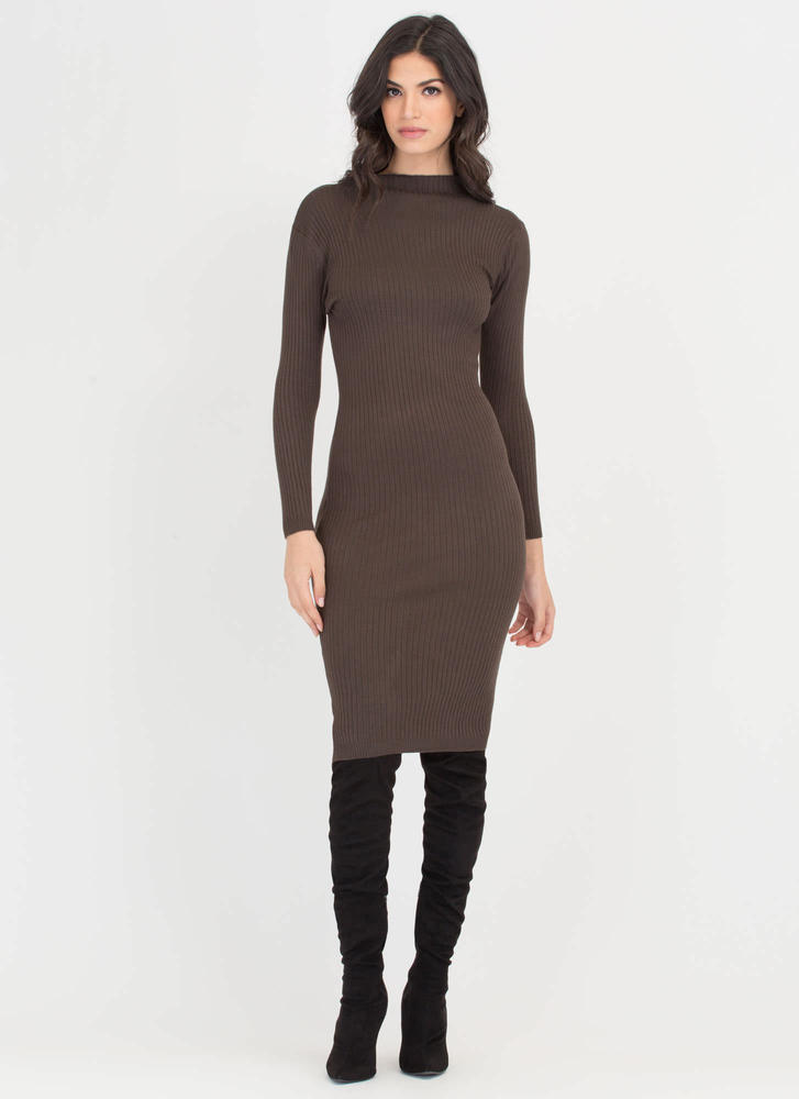 High And Mighty Rib Knit Midi Dress OLIVE (Final Sale)