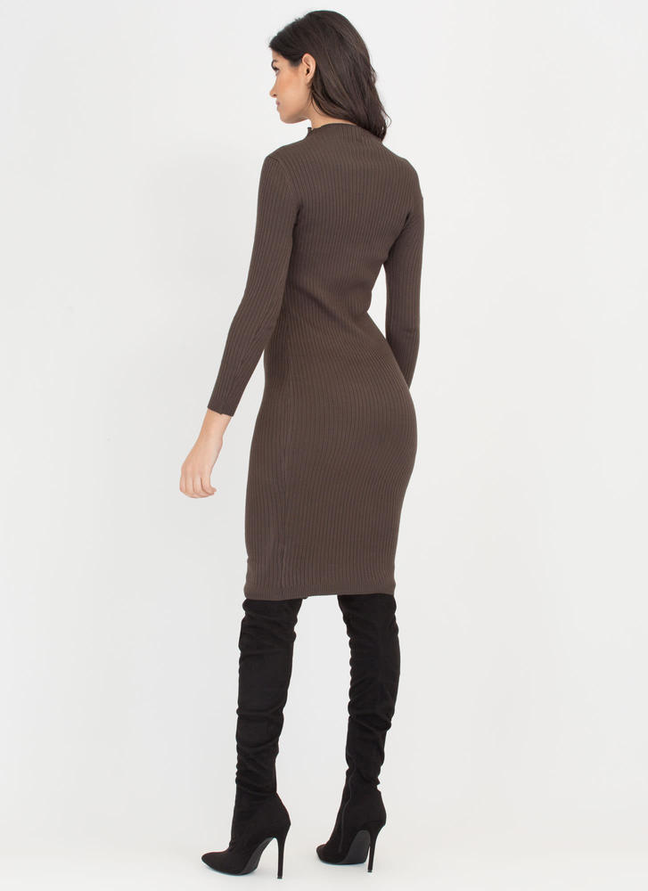 High And Mighty Rib Knit Midi Dress OLIVE