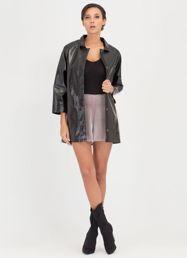 Weather It All Faux Patent Jacket BLACK
