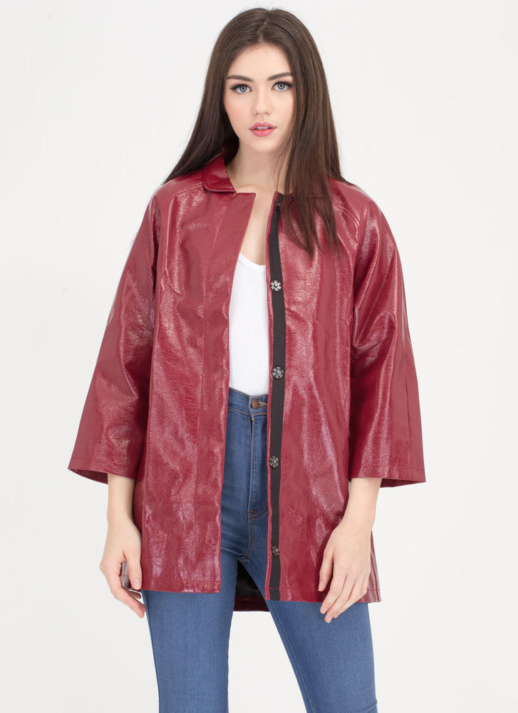 Weather It All Faux Patent Jacket RED