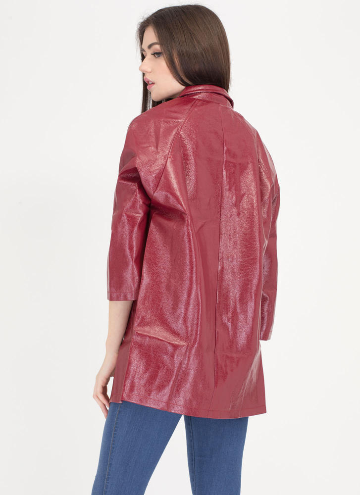 Weather It All Faux Patent Jacket RED (Final Sale)