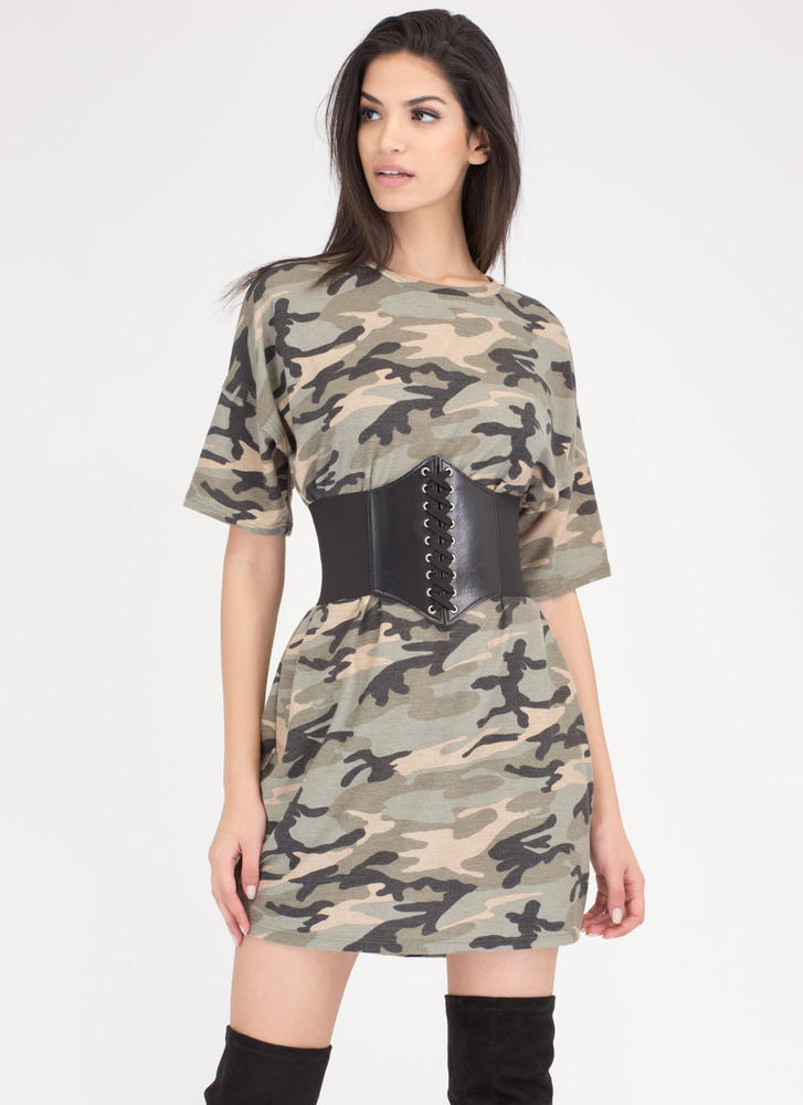 Atten-Hut Corset Belt Camo Shirt Dress